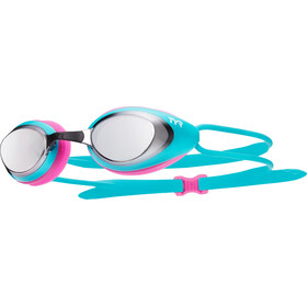 TYR Black Hawk Racing Mirrored Goggles Dames, silver/turq/pink